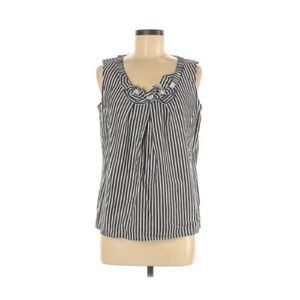 Talbots Grey and White Striped Tank Top Blouse